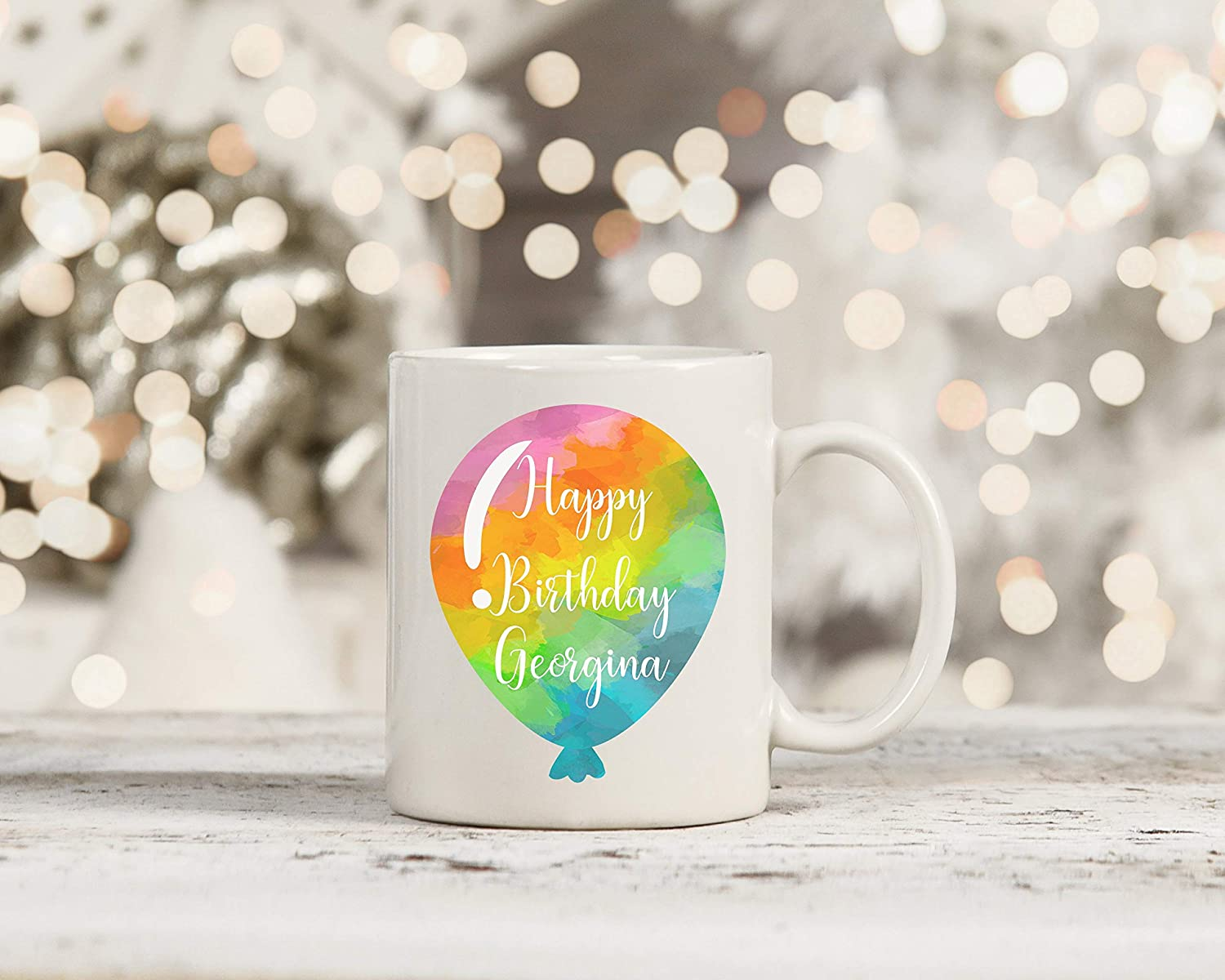 Birthday Gift, Birthday Mug, Colourful Balloon Mug, Gifts for her, Gifts for him, Rainbows, Personalised message, Add your own nam