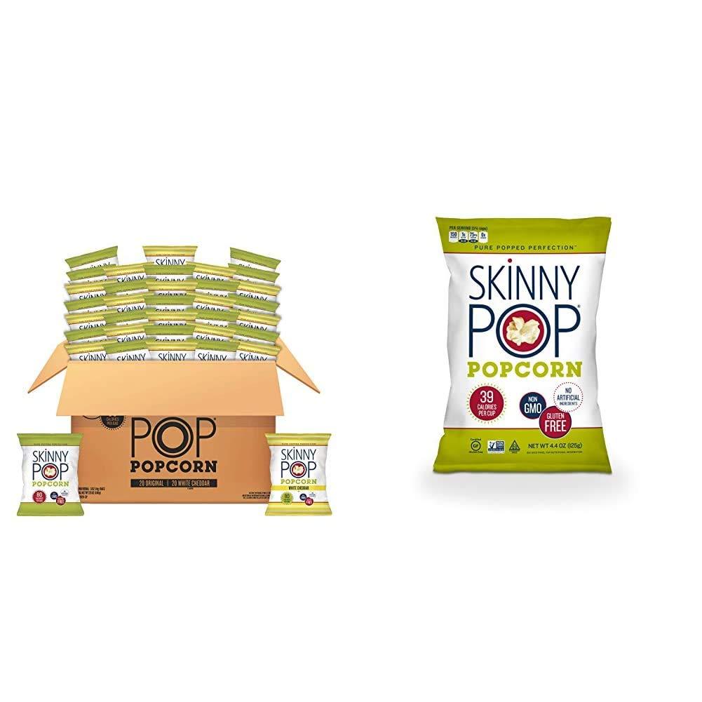 SkinnyPop Popped Popcorn Variety (Original & White Cheddar), Individual Bags, Healthy Snacks, 0.5oz (Pack of 40) & Popcorn, Original, 4.4 oz