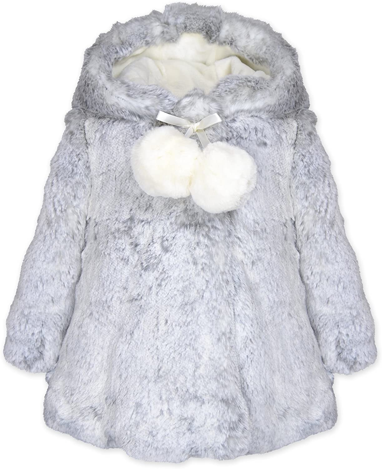 Widgeon Baby Girls Hooded A-line Faux Fur Coat with Pompom 3706