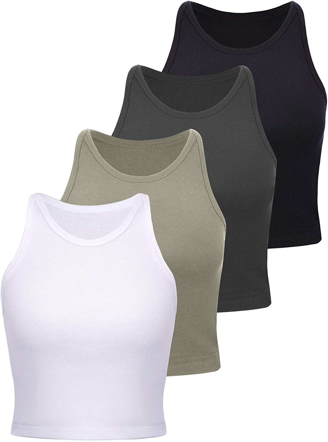 4 Pieces Basic Crop Tank Tops Women Sleeveless Racerback Crop Tops Cotton Sport Crop Tops for Lady Girls Daily Wearing