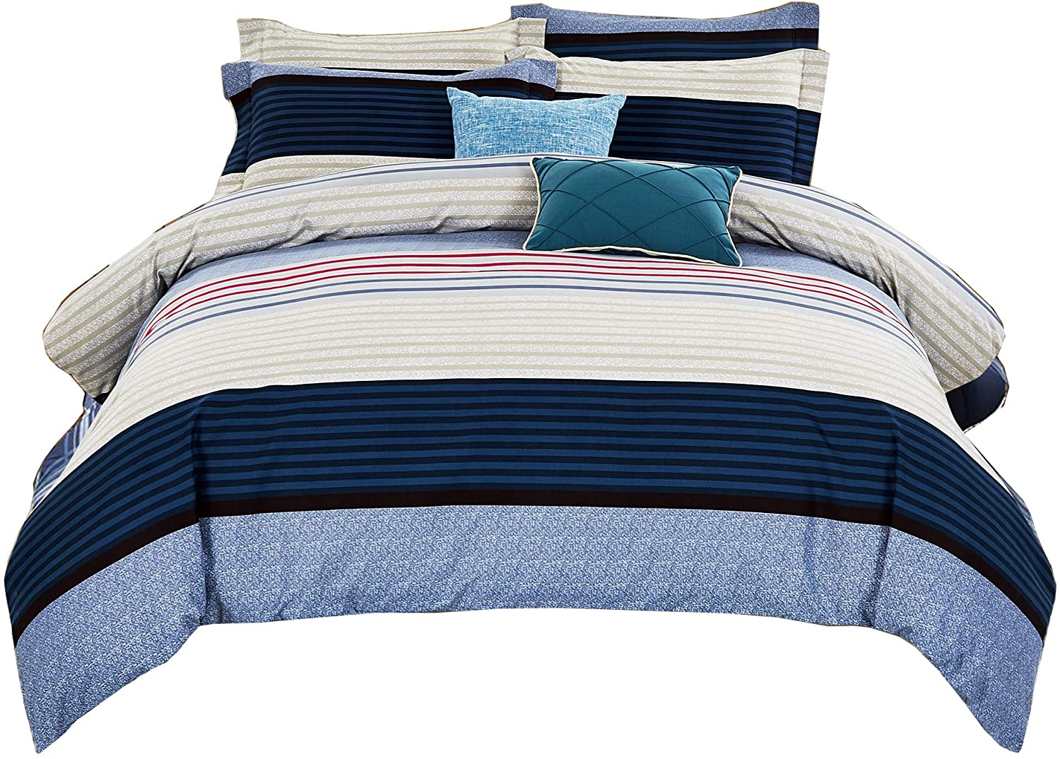 DelbouTree Striped Duvet Cover Set,Comforter Cover with Zipper Closure,Corner Ties,Queen in Blue 90 by 90 Inch