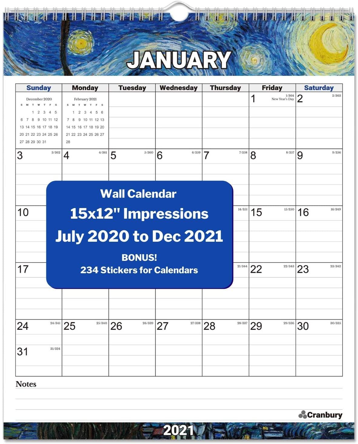 CRANBURY Vertical Wall Calendar 2020-2021 - (Impressions) Big Wall Calendar 2020 2021 12x14.5