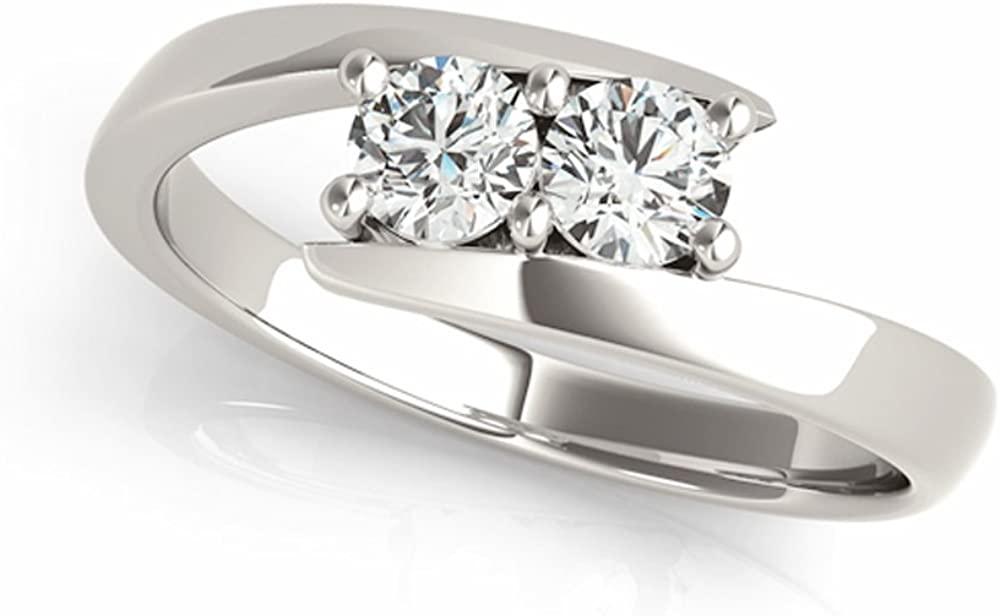 JewelMore Two-Stone Ring Forever US 1/4 ct tw Diamonds 14K White Gold IGI USA Certified (Size 4.5-11)