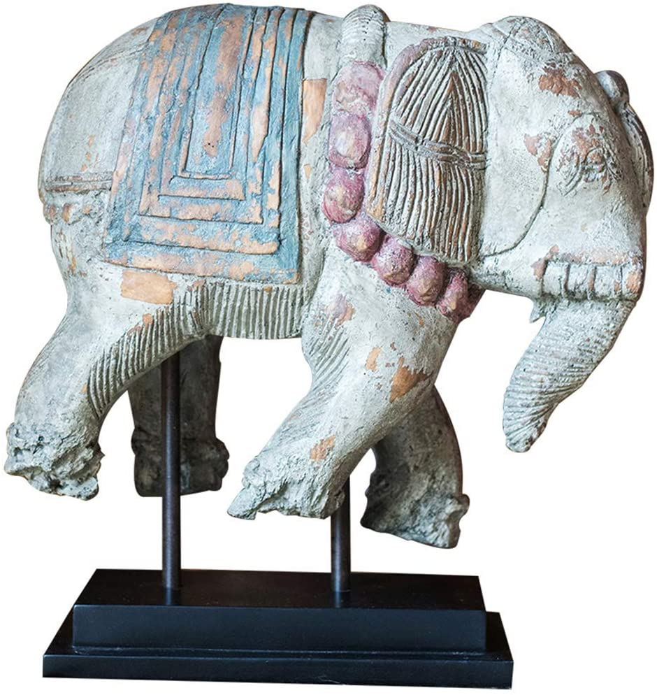 LIUSHI Elephant Decoration Statue, Elephant Animal Sculpture Retro Decoration Painted Crafts Country Style Collection Home Decoration Gifts