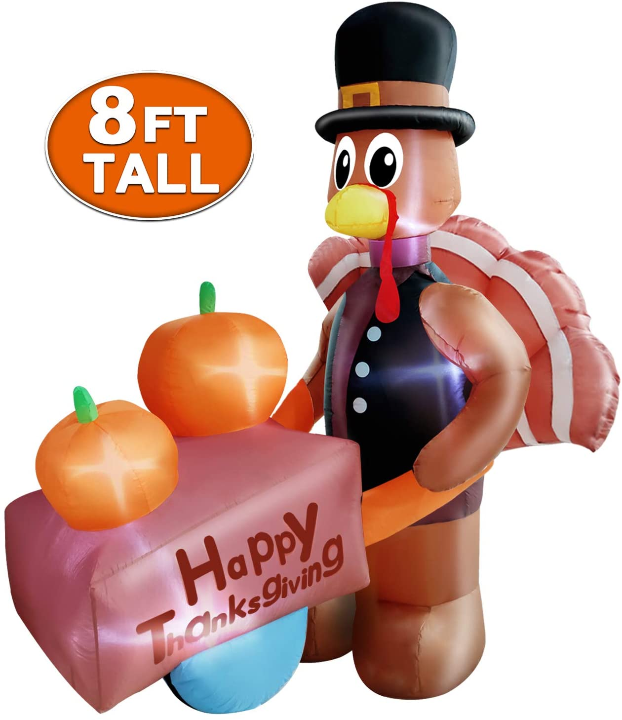 8Ft Thanksgivings Inflatable Turkey with Pilgrim Hat Holding Pumpkin Cart Air Blow up Lighted Autumns Harvest Fall Thanksgivings Decoration Outdoor Indoor Home Yard Lawn Party Holiday Decor