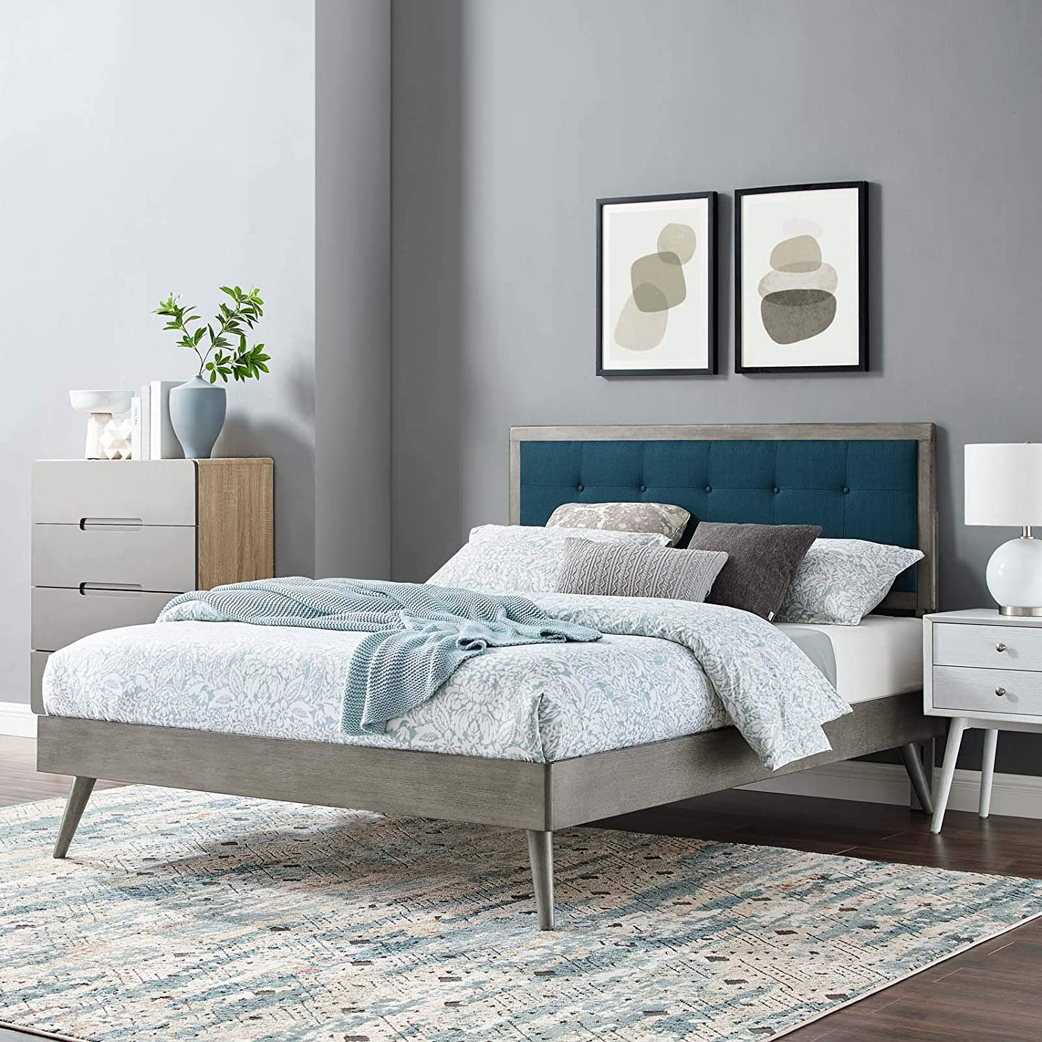 Modway Willow Wood Twin Platform Bed in Gray Azure with Splayed Legs, Single