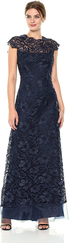 Tadashi Shoji Womens SLVS Lace Gown