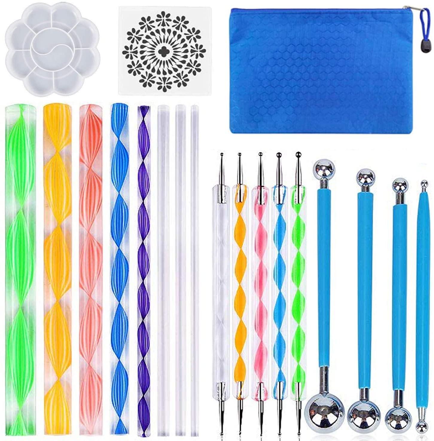 19PCS Mandala Dotting Tools Set with a Zipper Storage Bag for Painting Rocks, ABenkle Mandala Stencil Ball Stylus Paint Tray Set