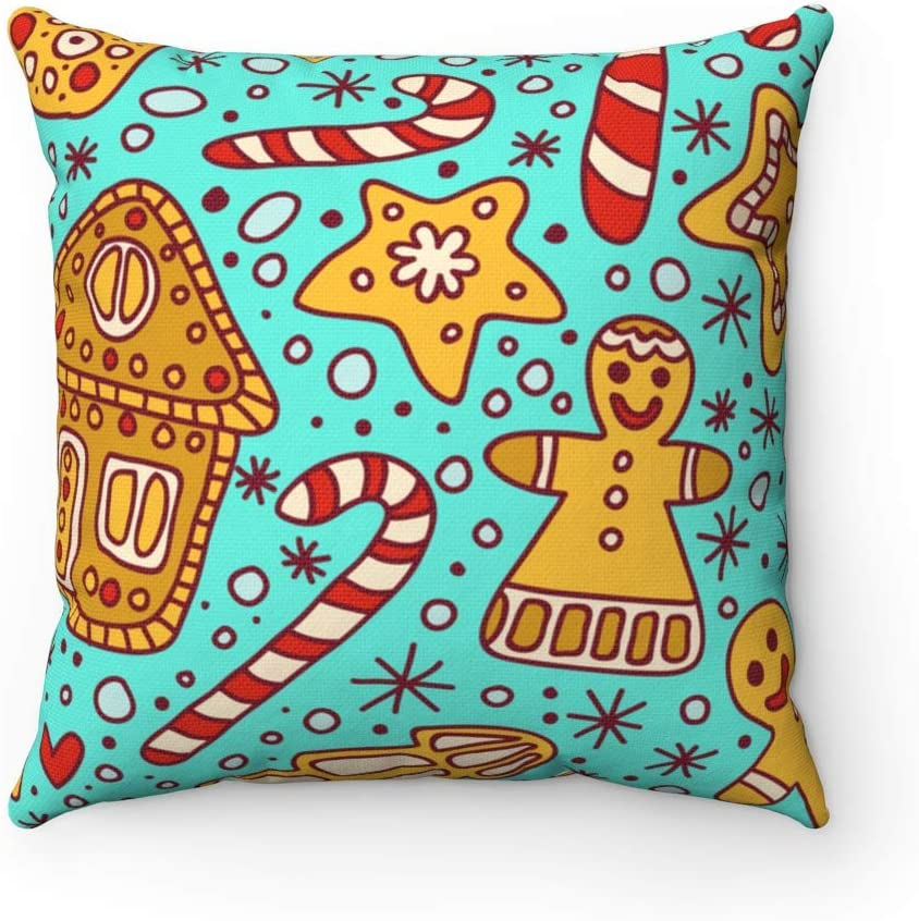 Christmas Throw Pillow Cover Gingerbread Candy Cane Decorative Square Pillowcase Xmas Vibe Cushion Cover Pillow Case Gift 18
