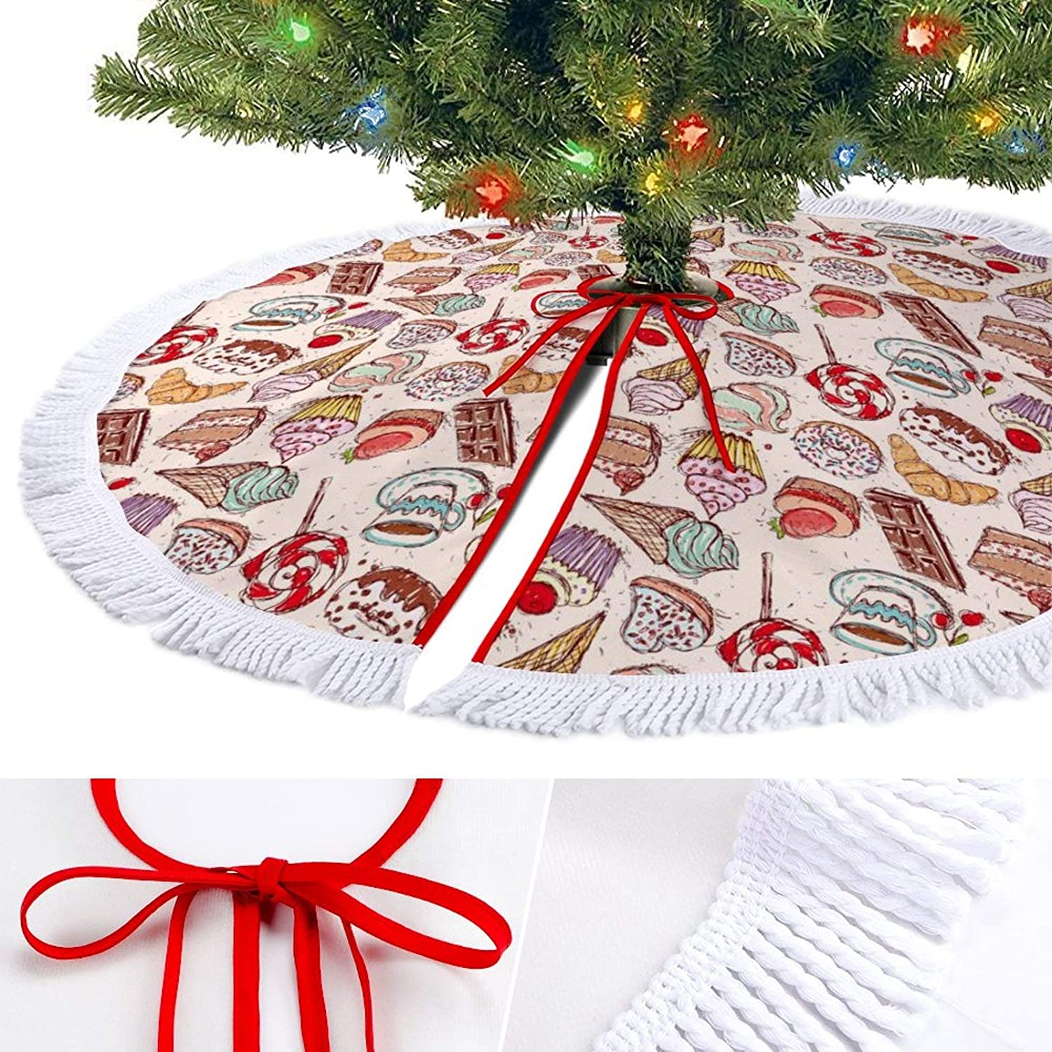 ODOKAY Christmas Tree Skirt Confectionery Croissant Pattern Holiday Decoration Ornament Xmas Tree Skirts for Party