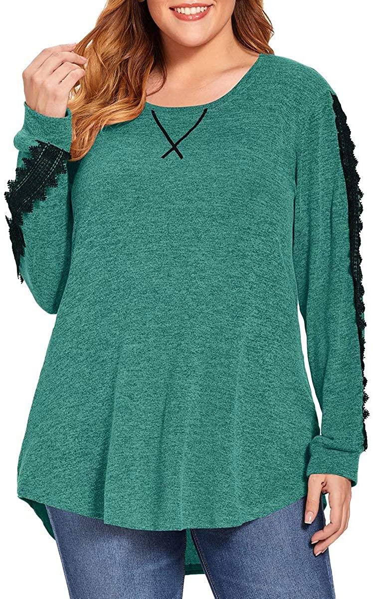 BELAROI Women Soft Casual Plus Size Blouses Long Sleeve Shirts Fashion Color Block Tunic Tops