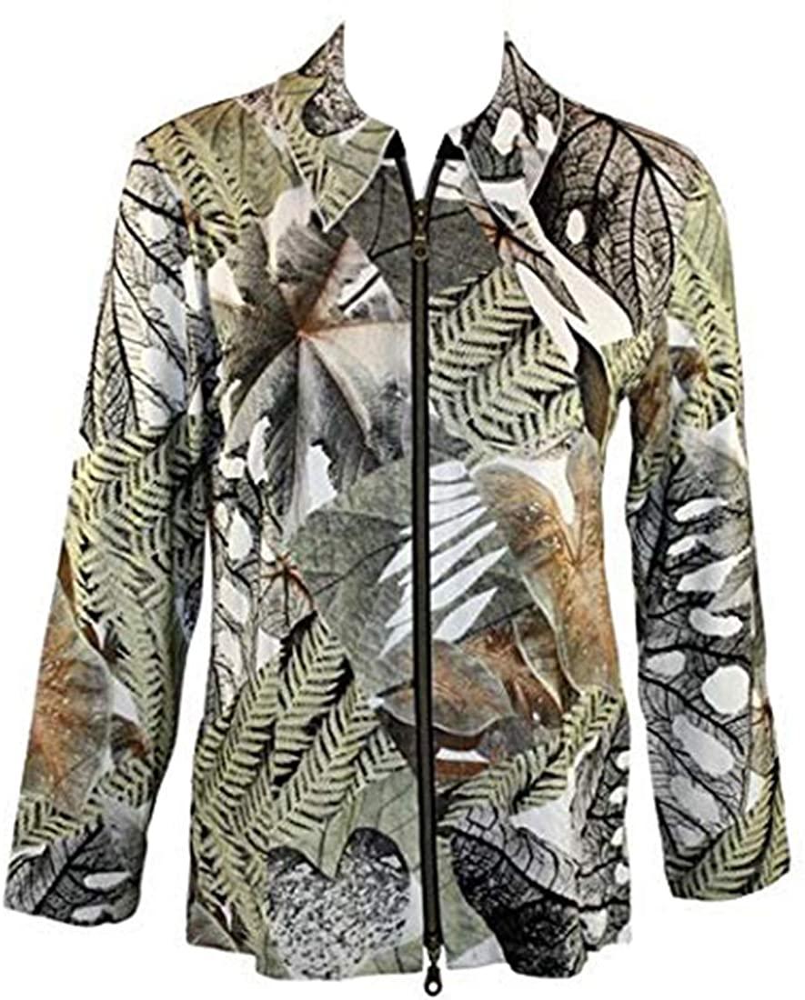 Walking Art Long Sleeve Zippered Front Printed Fabric Blend Jacket - Fern Leaves