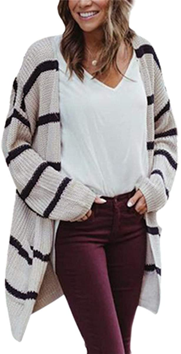 Andongnywell Womens Cardigan Striped Sweaters Open Front Colorblock Knit Coat Outwear Boho Pockets Loose Long Pullover