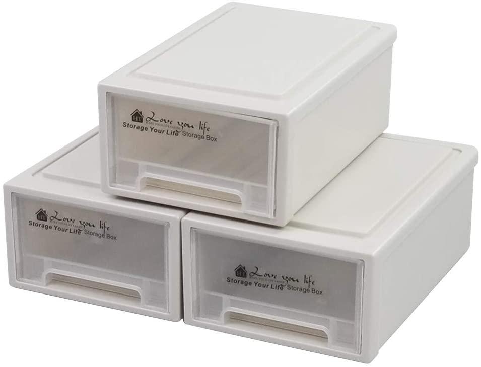 Sosody Plastic Compact Stacking Storage Drawer Unit, 6 Quart, 3 Packs
