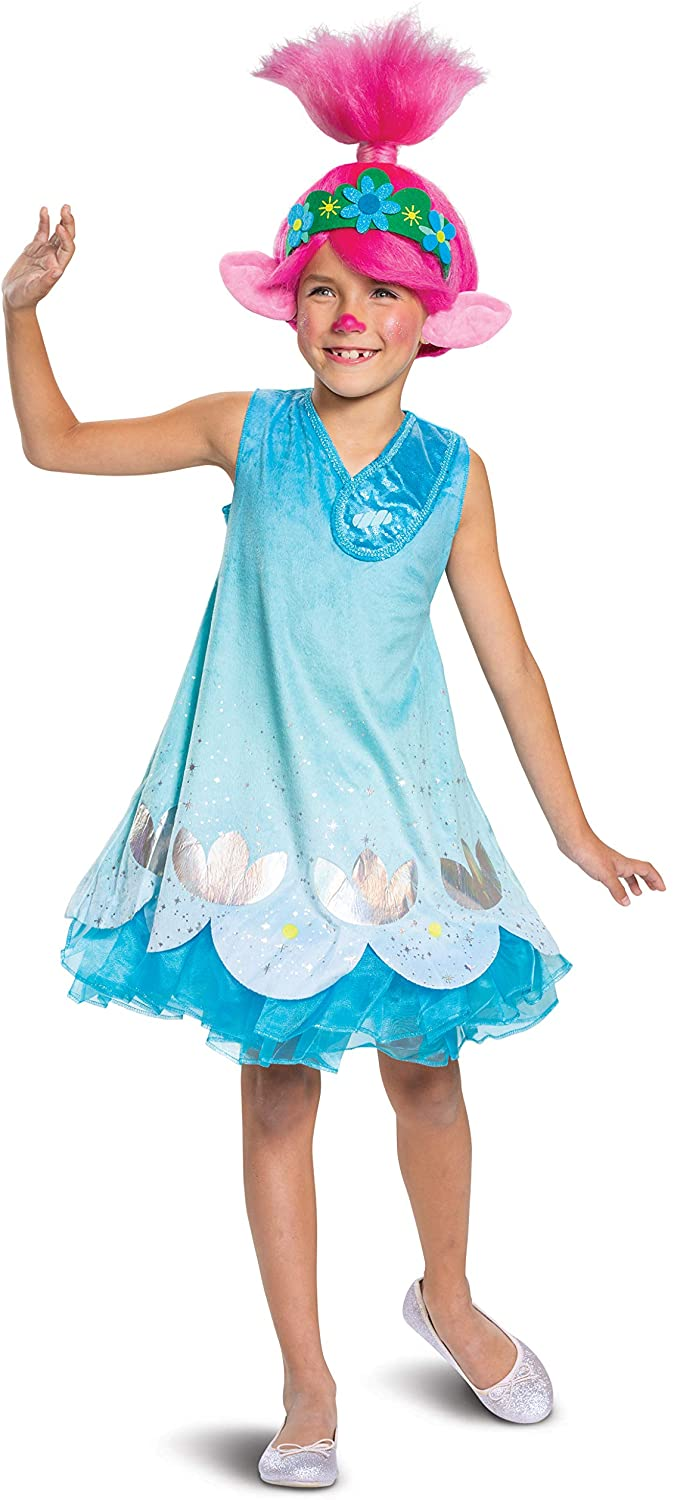 Trolls World Tour Poppy Costume, Trolls World Tour Children's Deluxe Dress Up Outfit for Girls, Kids Size Extra Small (3T-4T) Blue
