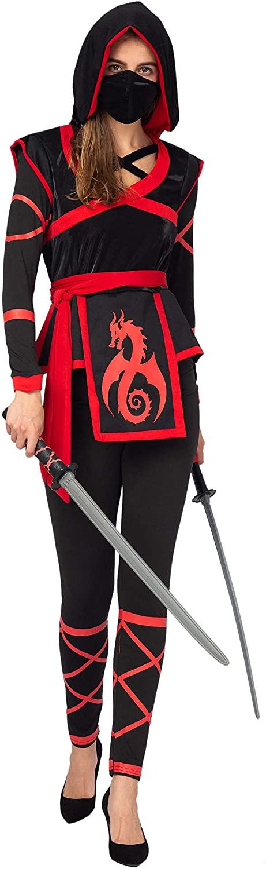 Spooktacular Creations Halloween Ninja Warrior Costume for Women with Ninja Mask