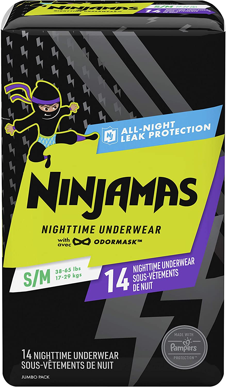 Ninjamas, Disposable Underwear, Nighttime Underwear Boys, 14 Count, Size S/M (38-65 lbs)