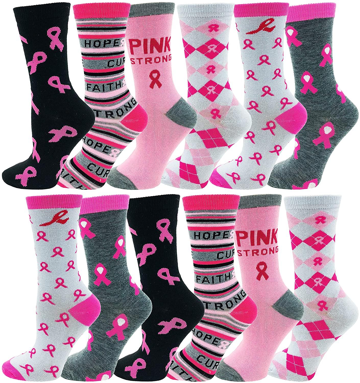 12 Pairs of Womens Breast Cancer Awareness Socks, Pink Ribbon Soft Sport Sock Bulk Pack