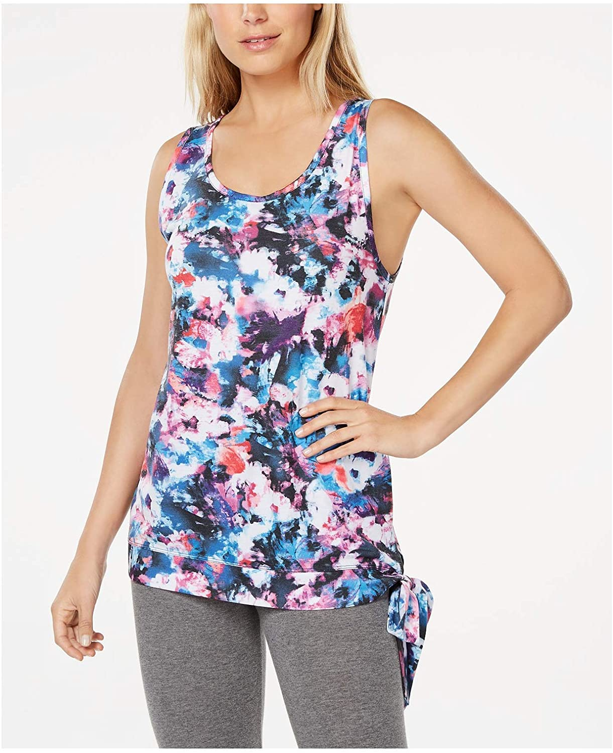 Ideology Floral-Print Side-Tie Tank Top