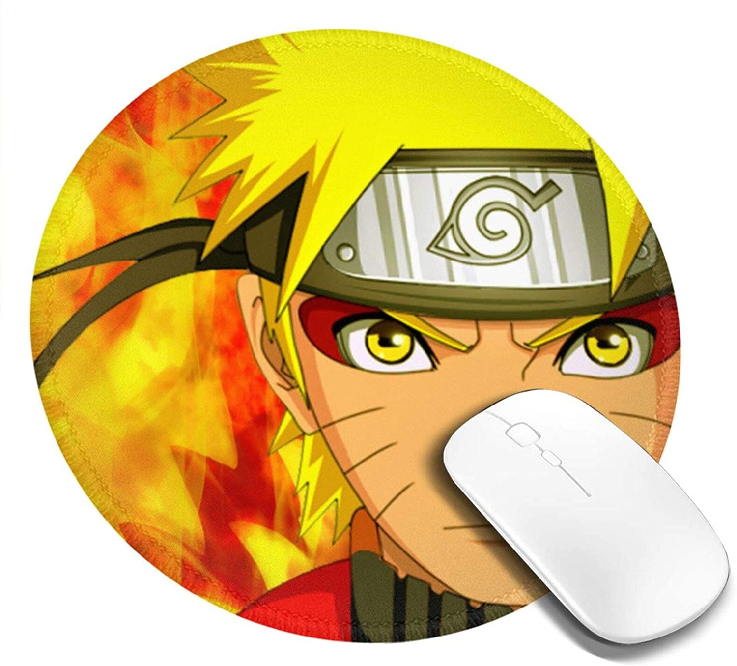 Naruto Round Gaming Mouse Pad with Stitched Edge, Non-Slip Rubber Base Mousepad for Home & Office Computer, Laptop 7.9x7.9 Inches