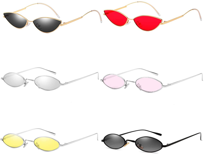 AOOFFIV Vintage Slender Oval Sunglasses Small Metal Frame Candy Colors