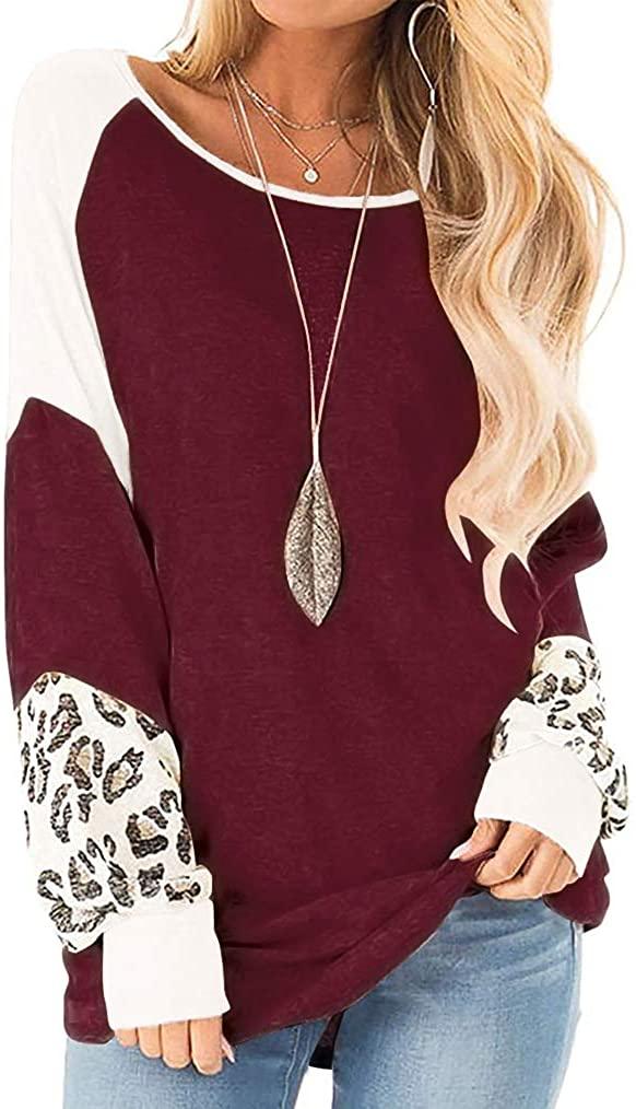 Naggoo Womens Color Block Leopard Round Neck Raglan Long Sleeve Casual Loose Tunic Shirts Tops Pullover Sweatshirt