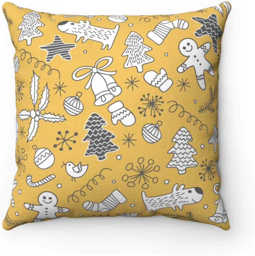 Seamless Christmas Pattern Throw Pillow Cover Gingerbread Decorative Square Pillowcase Xmas Vive Pillow Case Gift 18x18