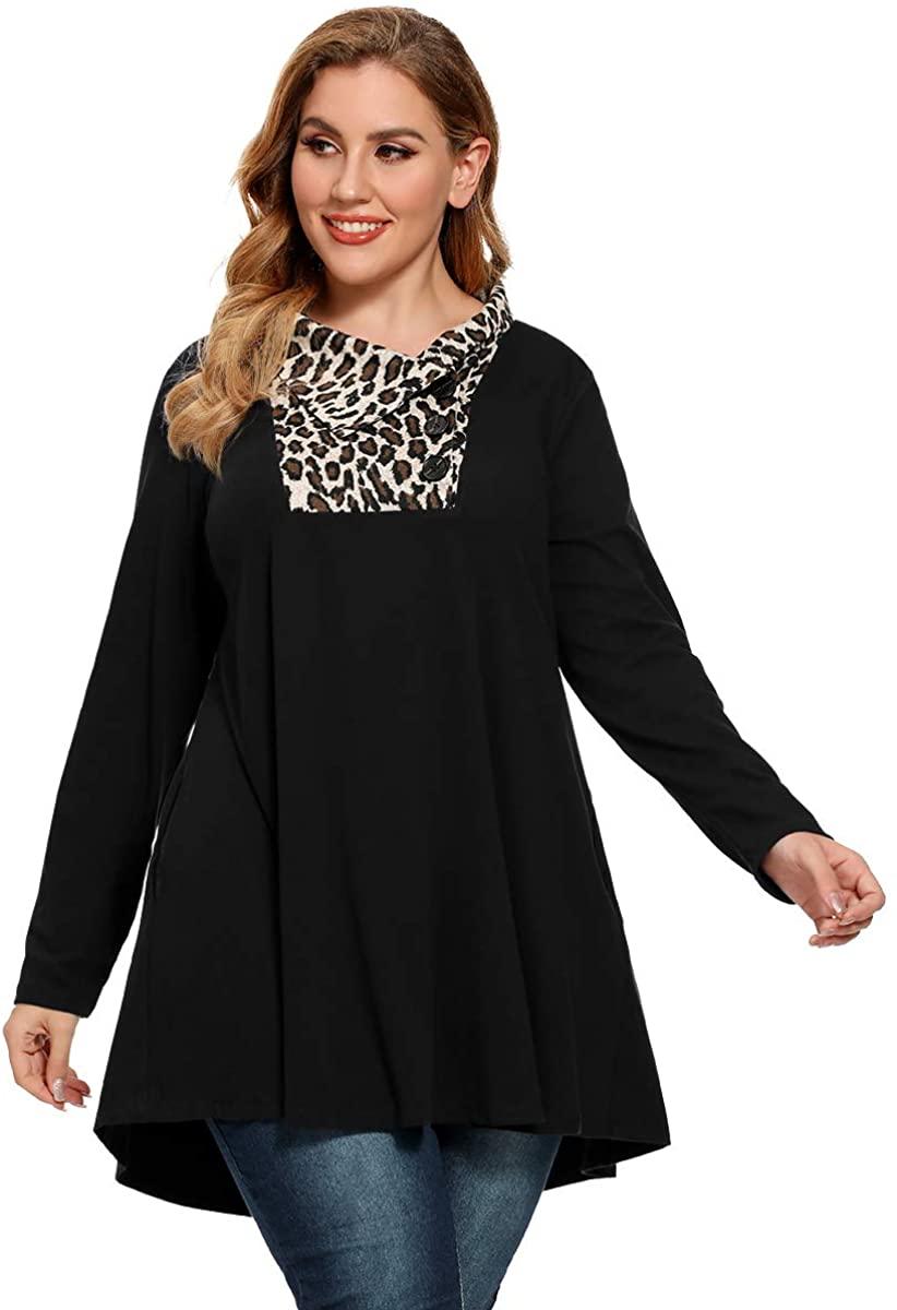 LARACE Plus Size Leopard Print Sweatshirt for Women Long Sleeve Swing Tunic Top