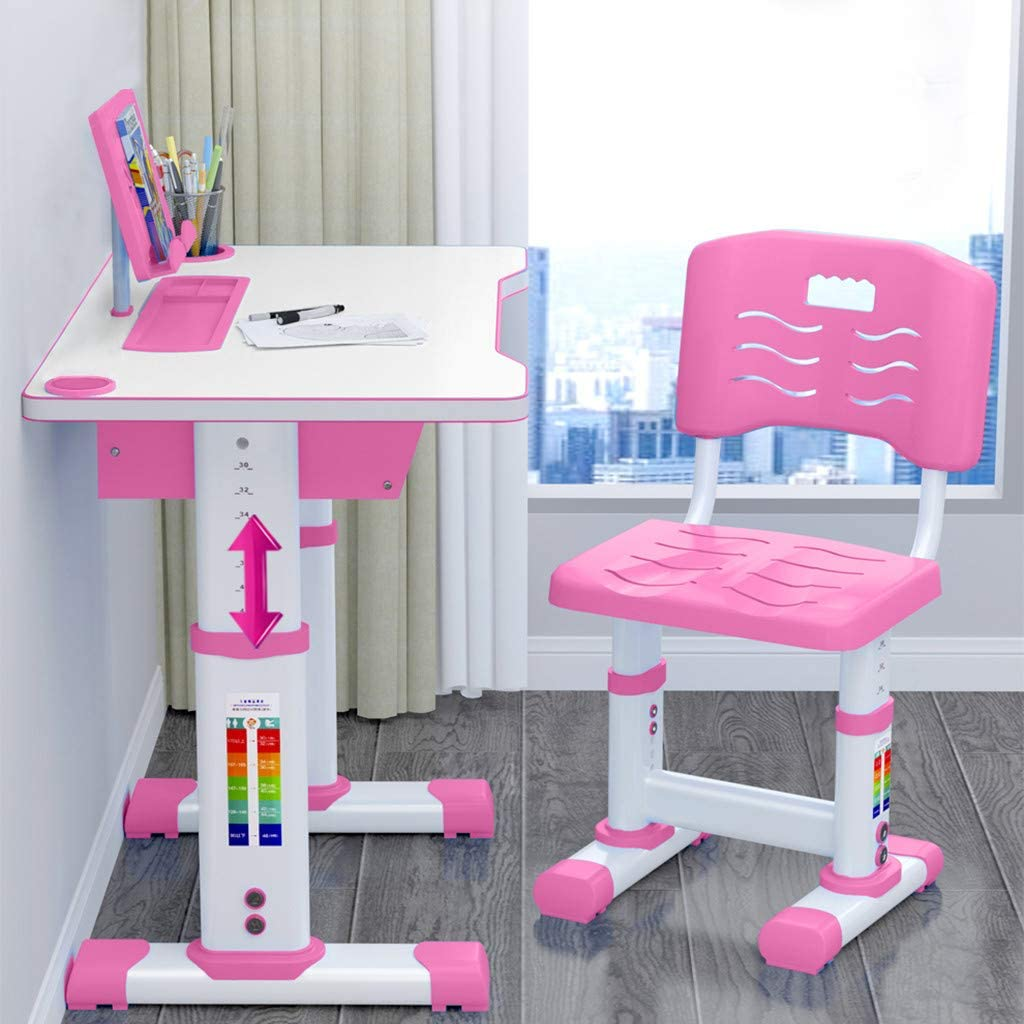 Liraly Kids Study Desk and Chair Set, with Bookstand and Drawer, Height Adjustable Children Desk, Ergonomic Student Writing Desk for Studying