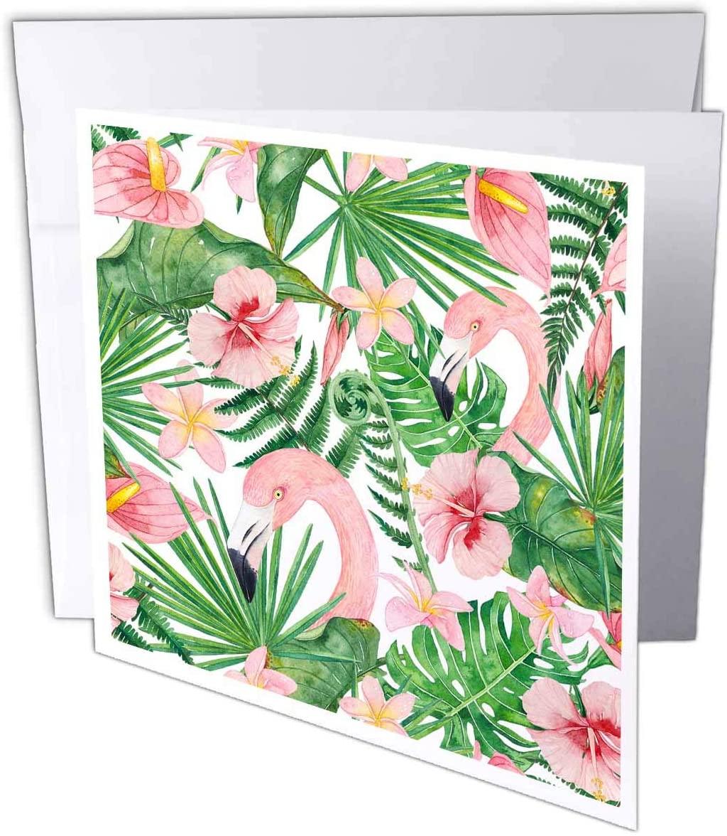 3dRose Uta Naumann Watercolor Pattern - Watercolor Tropical Aloha Jungle Summer Hibiscus and Flamingo Pattern - 1 Greeting Card with Envelope (gc_319657_5)