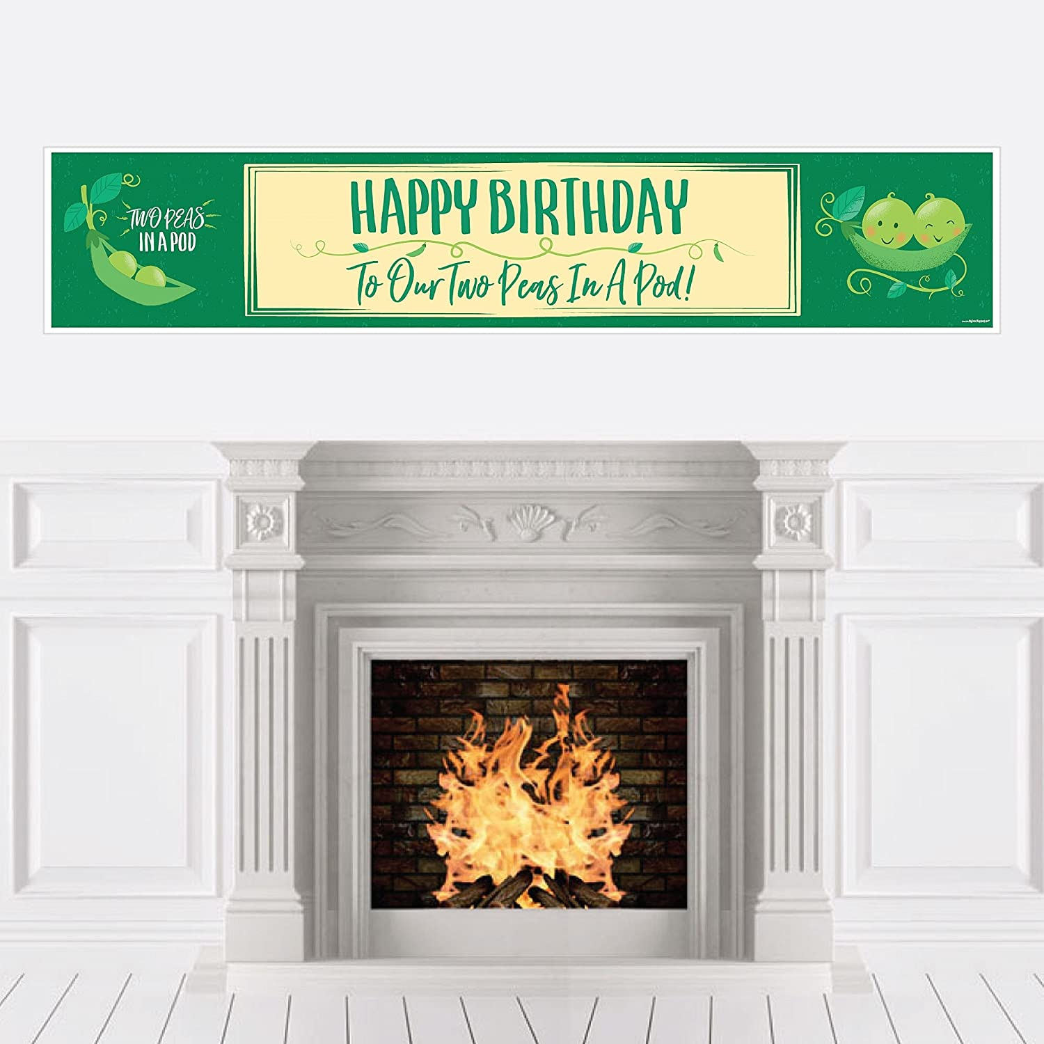 Big Dot of Happiness Double the Fun - Twins Two Peas in a Pod - First Happy Birthday Decorations Party Banner
