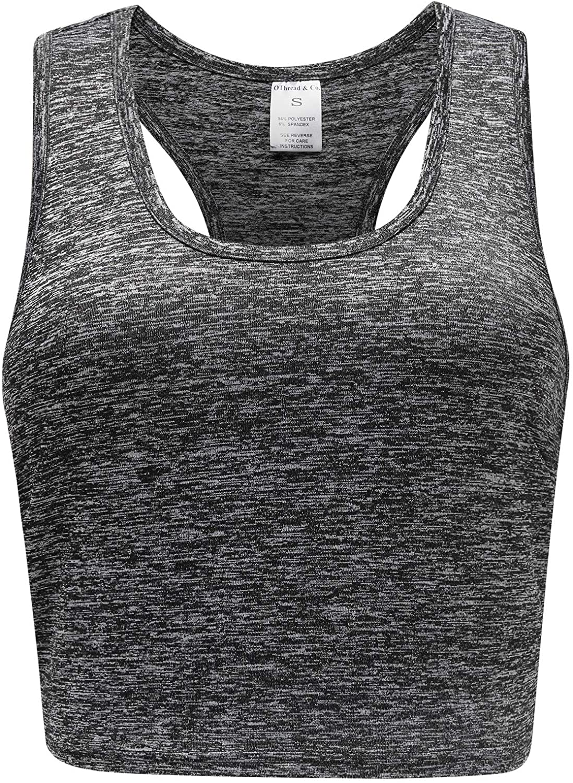 OThread & Co. Women's Crop Top Performance Activewear Running Workout Moisture-Wicking Racerback Crop Tank Top