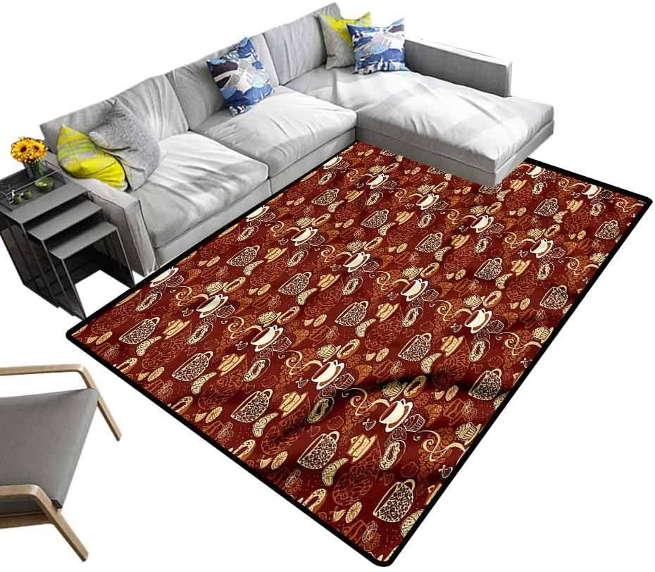 Coffee, Colorful Area Rug Croissant and Doughnut Cake Abstract Shaggy Rug for Bedroom Easy Clean Stain Resistant, 6.5'x 10'