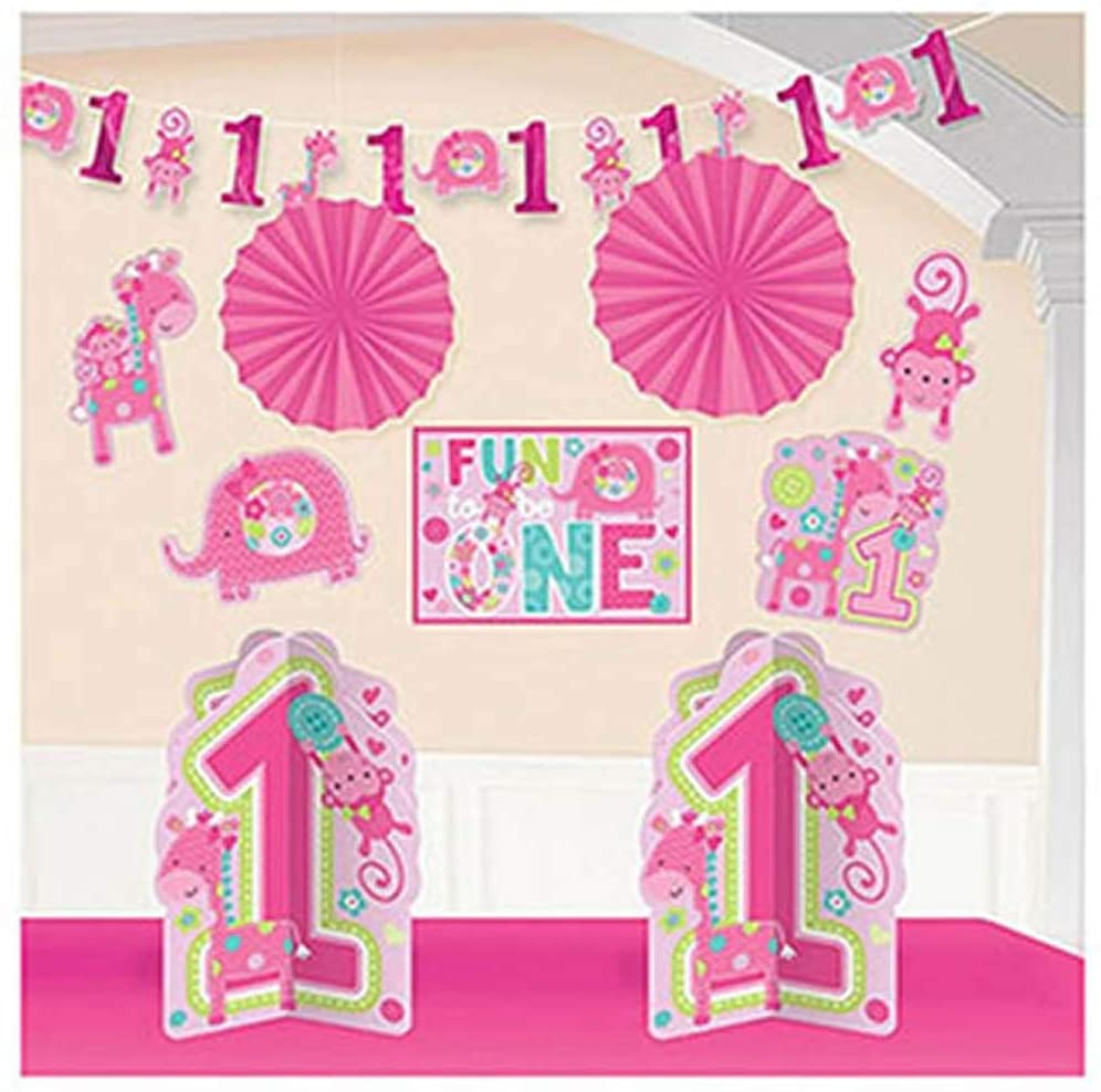 Amscan One Wild Girl 1st Birthday Room Decorating Kit, Large, Pink