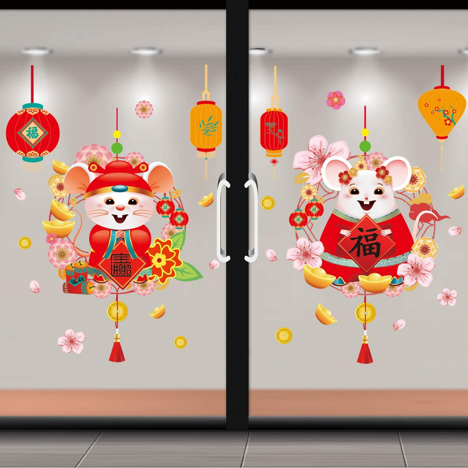 Adurself Chinese New Year Window Clings 2020 Spring Festival Decorations Mouse Year Window Decals Stickers for Home Restaurant Store Party Decor Ornaments (A)