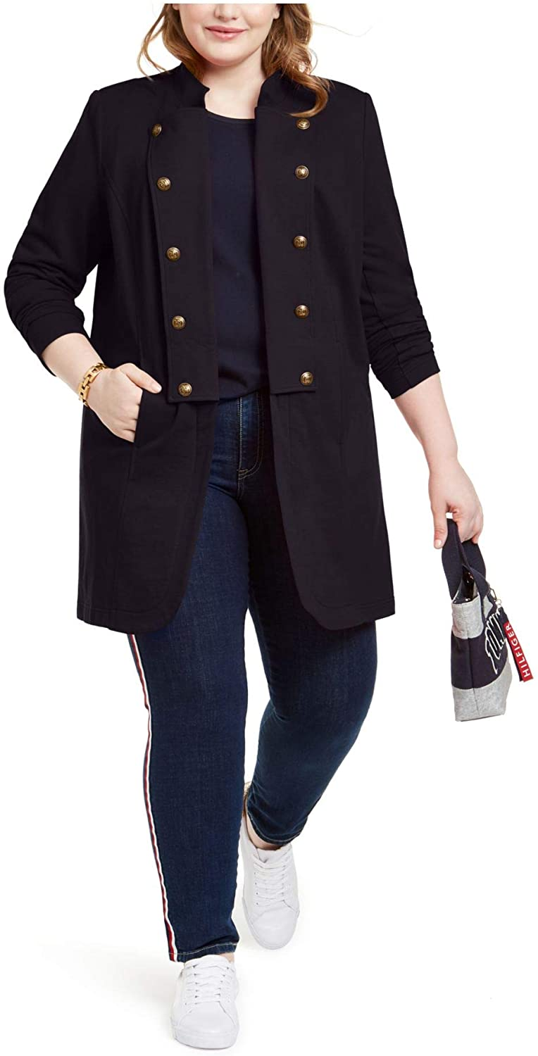 Tommy Hilfiger Womens Navy Trench Jacket Size 1X