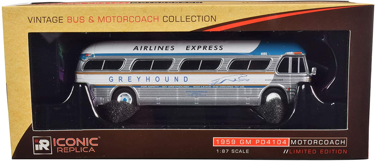 Iconic Replicas 1/87 Diecast Model of 1959 GM PD4104 Motorcoach Bus Greyhound Airport Express Destination: Airport Silver & Blue w/White Top 87-0207