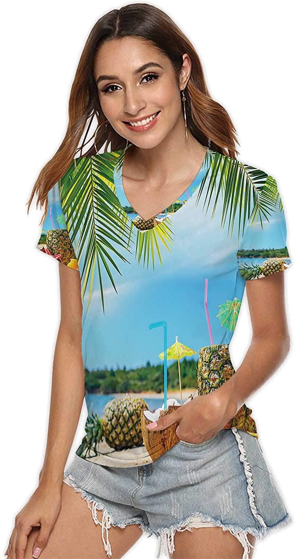 Big Cactuses in red Desert,Fashion V-Neck T-Shirt for Women/Girls tatacoa Desert S