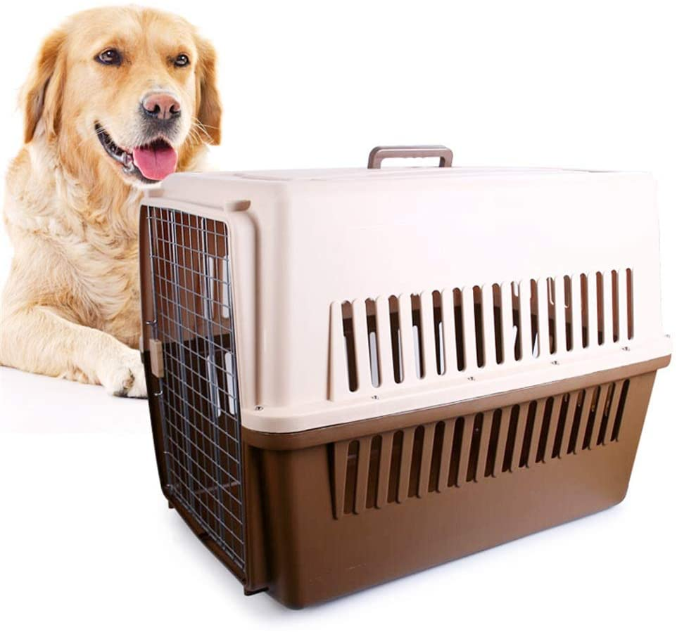 YADSHENG Hard-Sided Carriers Pet Crate Dog Air Box Checked Pet Kennel Portable Cat Crate Breathable Pet Travel Case Pet Carrier Kennel