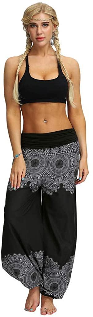 hositor Yoga Pants for Women, Men Women Casual Loose Hippy Yoga Trousers Baggy Boho Aladdin Pants