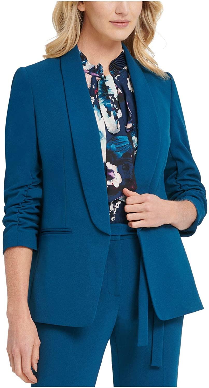 DKNY Womens Teal Blazer Jacket Size 4