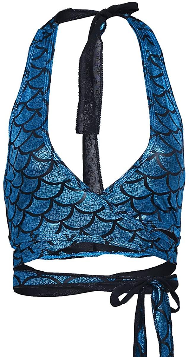 YiZYiF Women's Shiny Fish Scale Print Halter Strappy Savage Wrap Around Crop Top