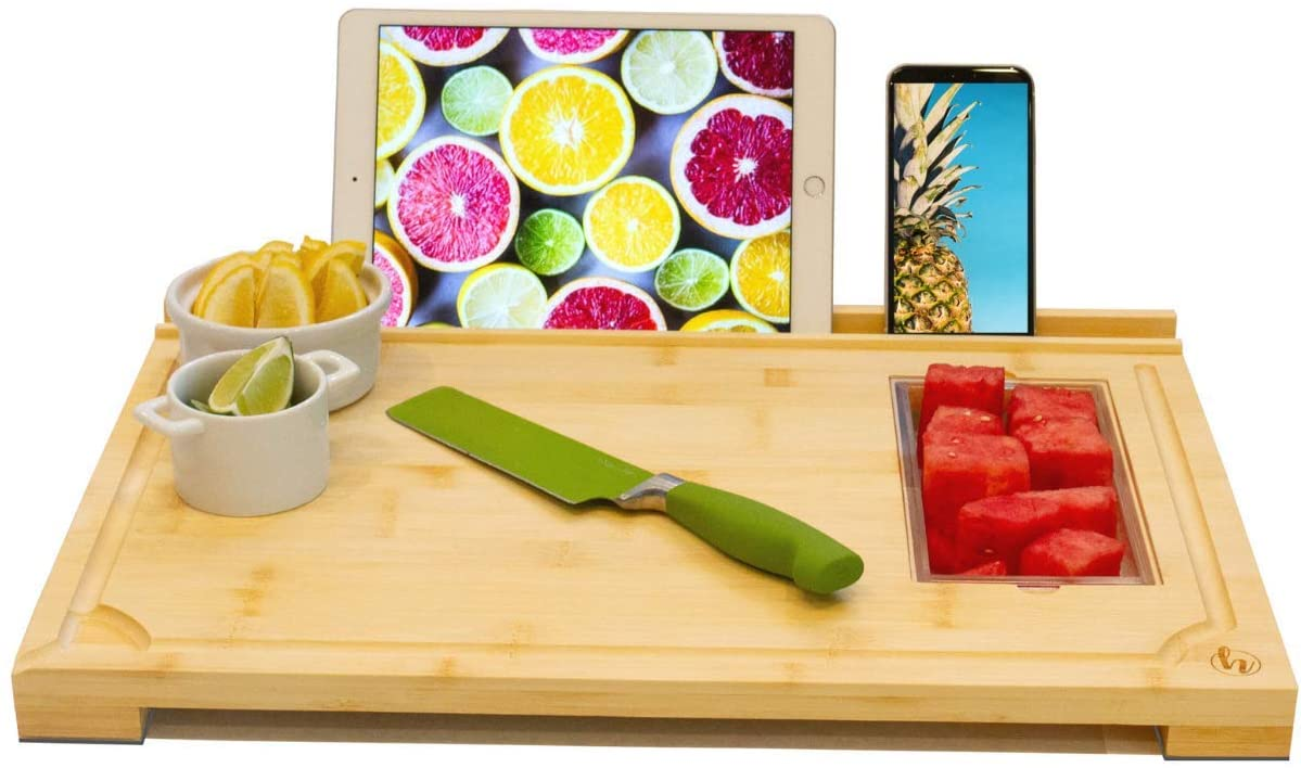 Modern Bamboo Cutting Board - Phone & Tablet Stand, Set of 3 Containers, Non-Slip, Juice Groove, Pour Spout, Extra Large, Chopping, Carving, Charcuterie Board, Serving Tray - 20 x 14 x 1.5