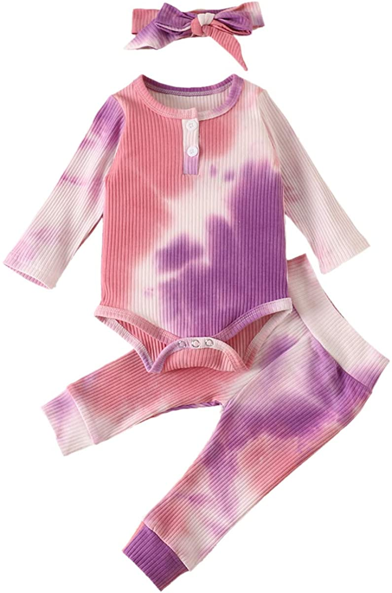 Baby Girl Ribbed 3 Piece Outfits Long Sleeve Tie Dye Romper Top Bodysuit + Pants + Headband Infant Clothes Set