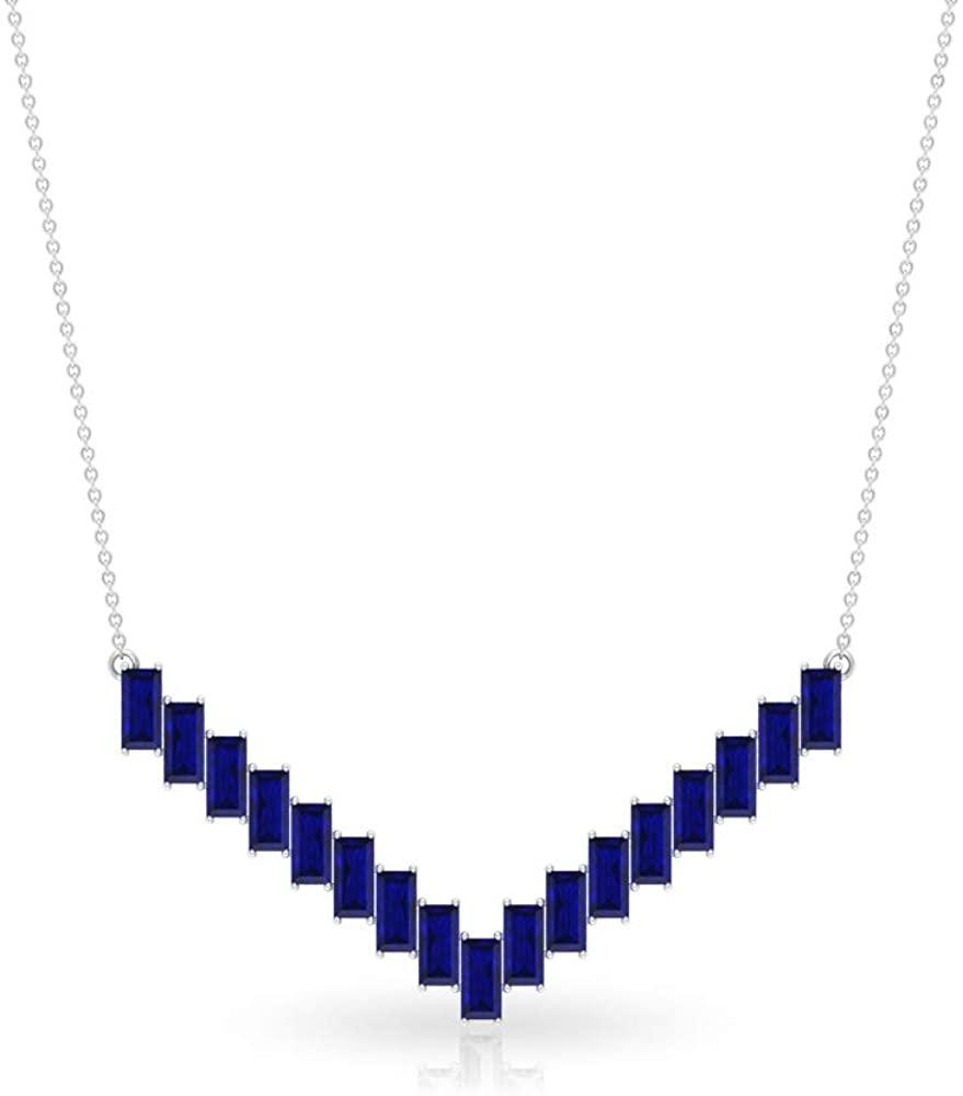 7.14Ct SGL Certified Sapphire Diffused Charm Necklace, Baguette Shape Gemstone Gold Necklace, Statement Chevron Shape Necklace, Classic Bridal Pendant