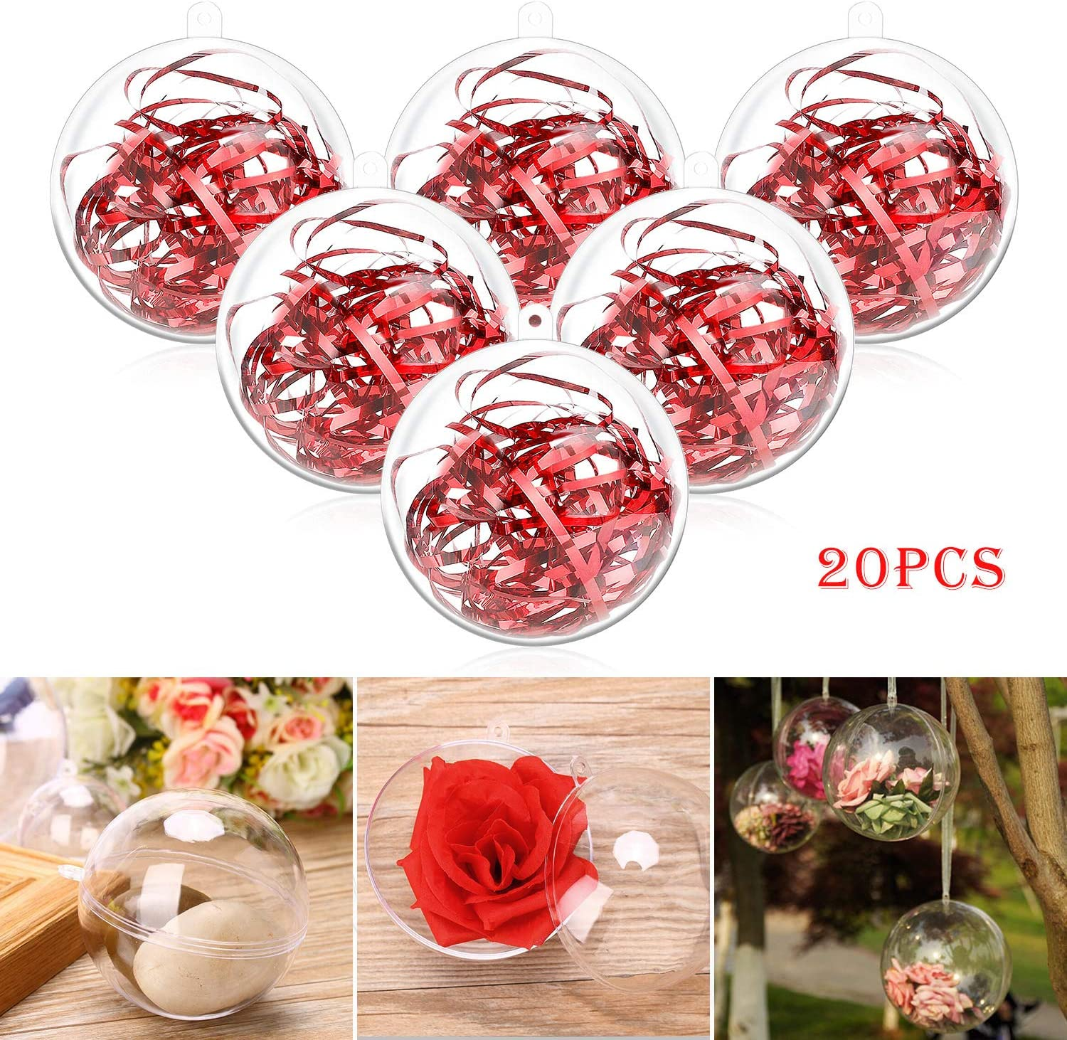 Philonext Clear Ornaments Balls,20pcs Clear Christmas Decorations Balls,DIY Plastic Fillable Christmas Decorations Tree Balls Gifts for New Years Wedding Party Decor (80mm)