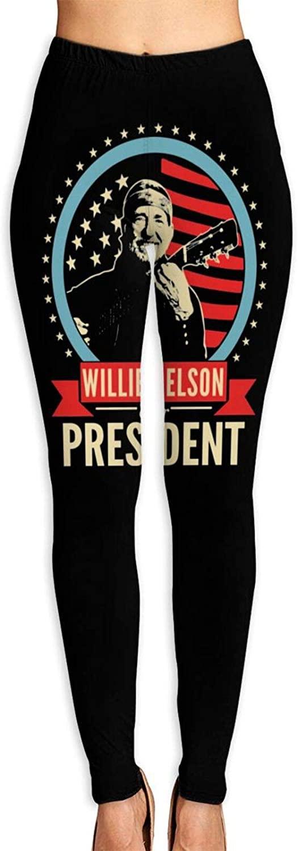 Keyvic Women's Yoga Pants Willie Nelson Last Man Standing High Waist Workout Leggings Running Pants