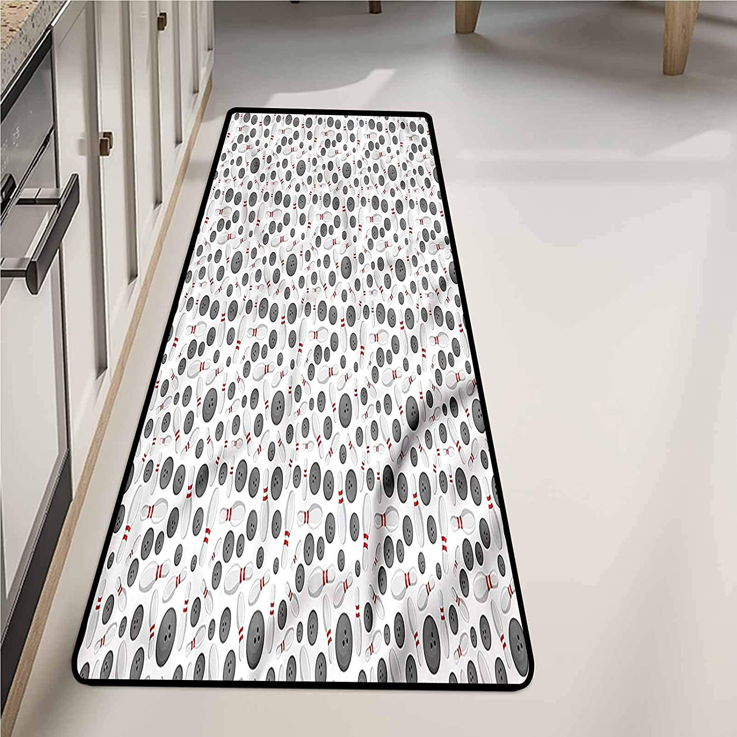 Kitchen Rugs and Mats 24 x 72 Inch, Bowling Scattered Game Icons Non-Slip Area Rugs