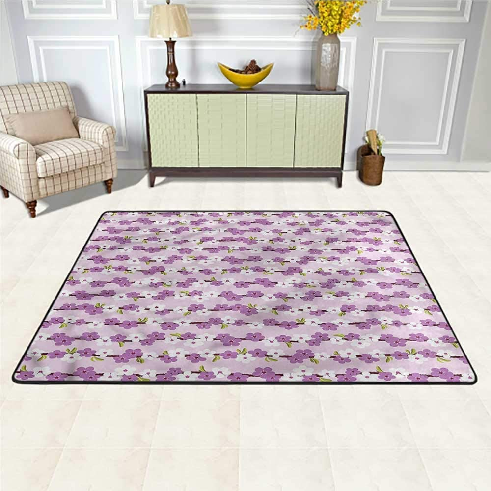 Carpet Japanese, Cherry Branches Bloom Indoor/Outdoor Multicolor Area Rug Stain Resistant & Easy to Clean 6.5 x 10 Feet