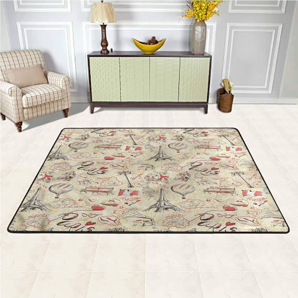 Rugs Paris, Airship Croissants Coffee Faux Fur Rug Bedside Rugs Provides Protection and Cushion for Floors 6.5 x 10 Feet